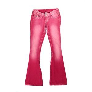 True Religion Joey pink distressed flare jeans
